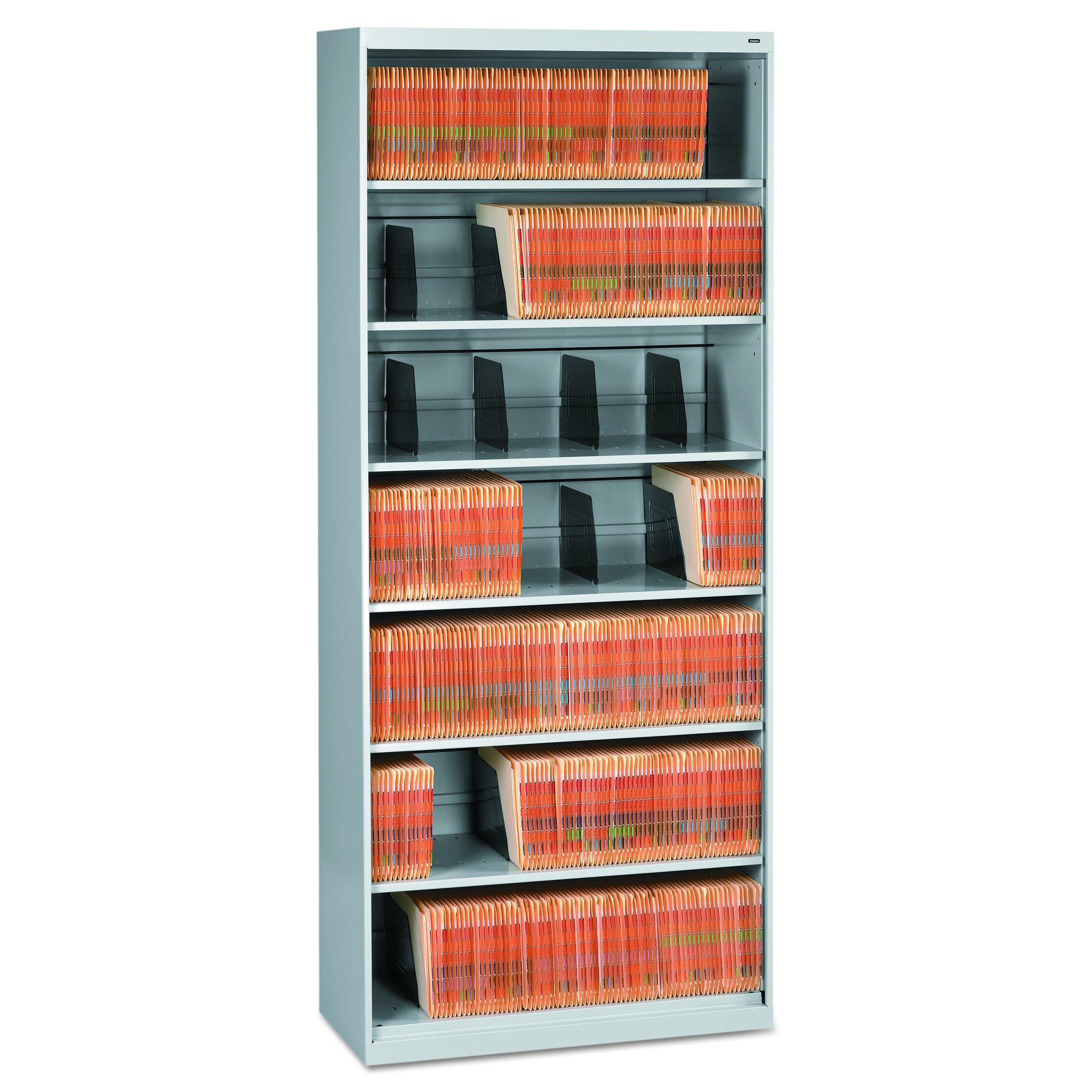 Tennsco Open Fixed Shelf Lateral File, 36w x 16 1/2d x 87h, Light Gray by Tennsco