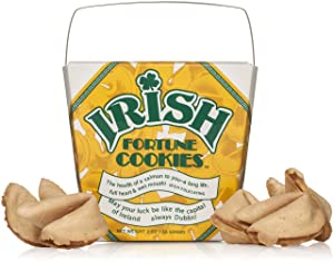 Irish Fortune Cookies In A Gift Box – St Patrick's Day Gift – 8 Pieces Traditional Vanilla Flavor Individually Wrapped – Kosher Certified