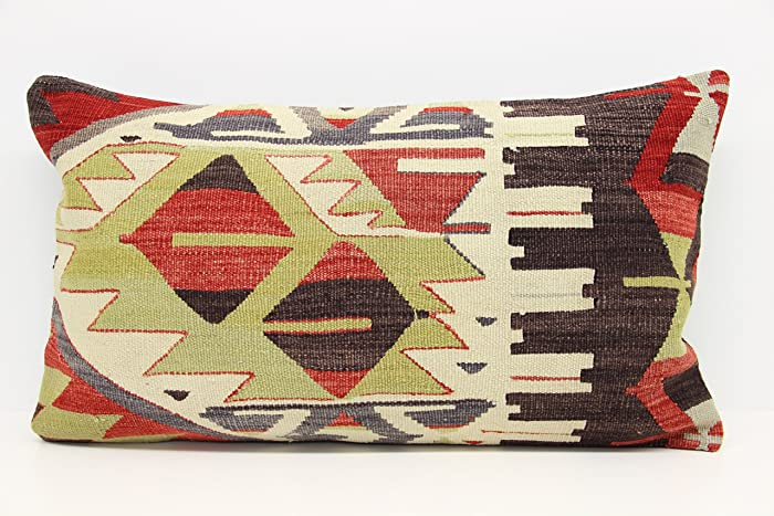 Turkish Kilim Pillow Cover 16x28 Inch (40x70 Cm) Accent Lumbar Kilim Pillow  Cover Natural