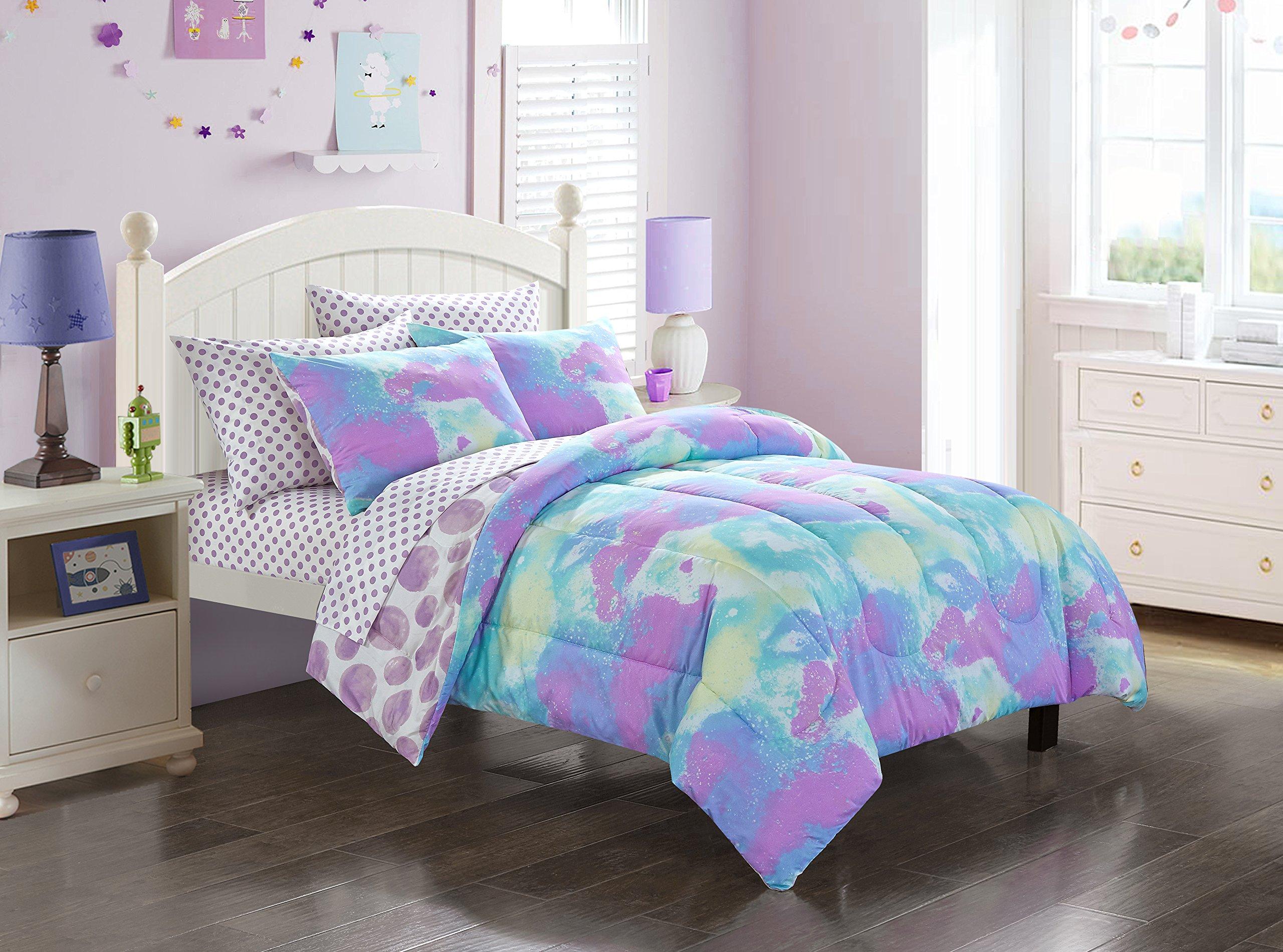 Mainstays Kids Tie Dye Cloud Reversible Comforter Bed In A Bag (Full)