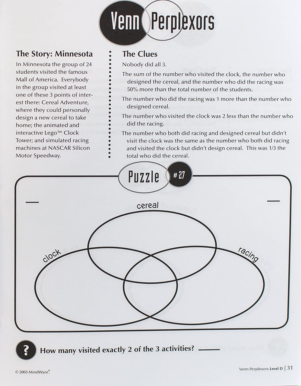 Mindware Venn Perplexors Level D 48 Puzzles Great Logic Diagram For Standardized Tests Challenging And Engaging Grades 9 12 Evelyn B Christensen