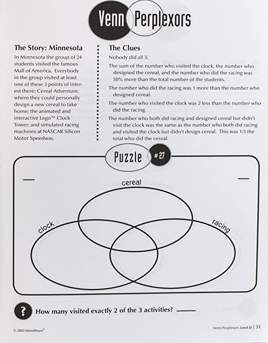 Amazon mindware venn perplexors level d 48 puzzles great amazon mindware venn perplexors level d 48 puzzles great for standardized tests challenging and engaging grades 9 12 evelyn b christensen ccuart Images