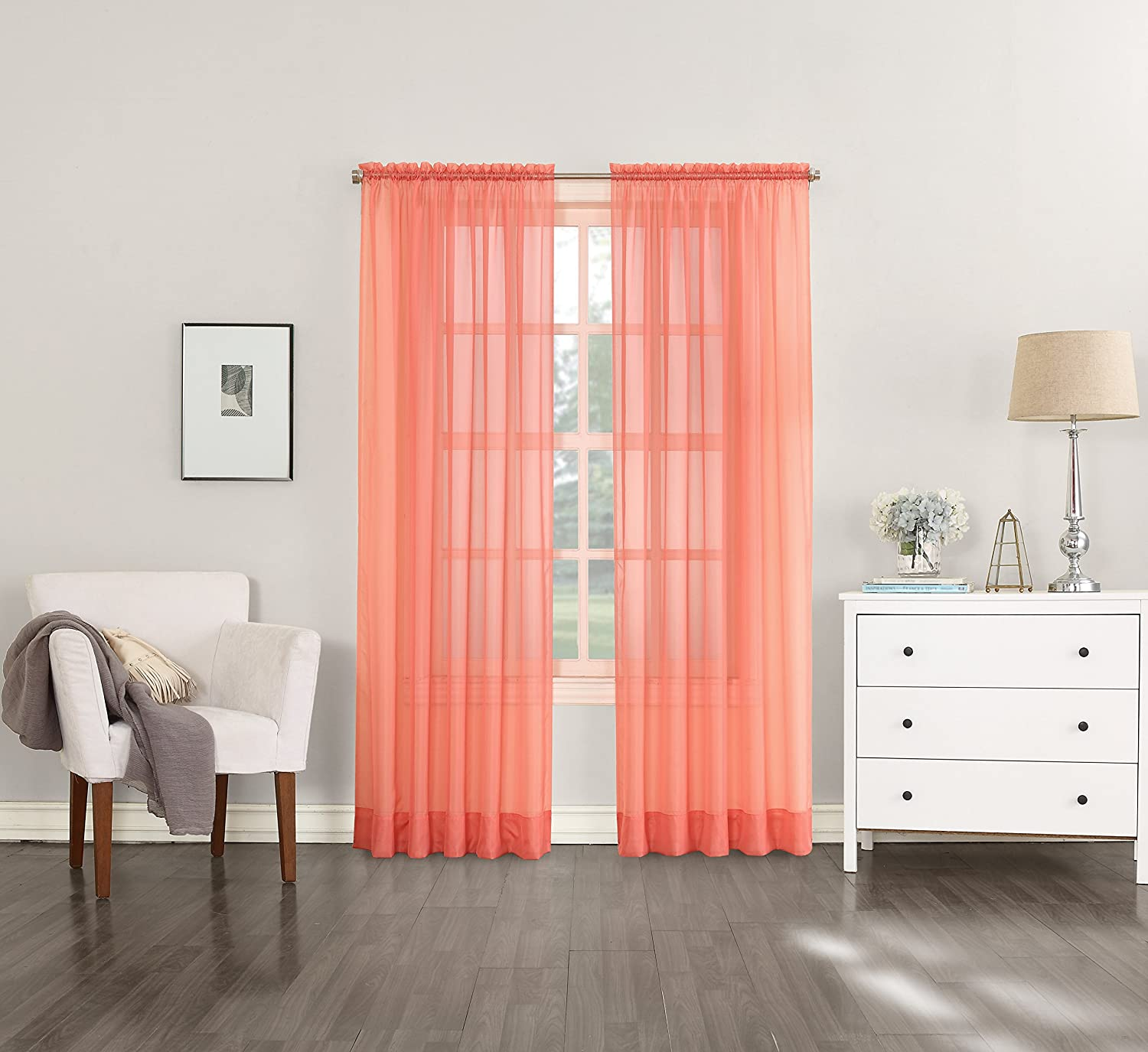 "No. 918 Emily Sheer Voile Curtain Panel, 59"" x 84"", Coral Orange"