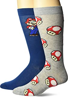 Nintendo Super Mario Mens and Big Boys 2 Pk Crew Socks