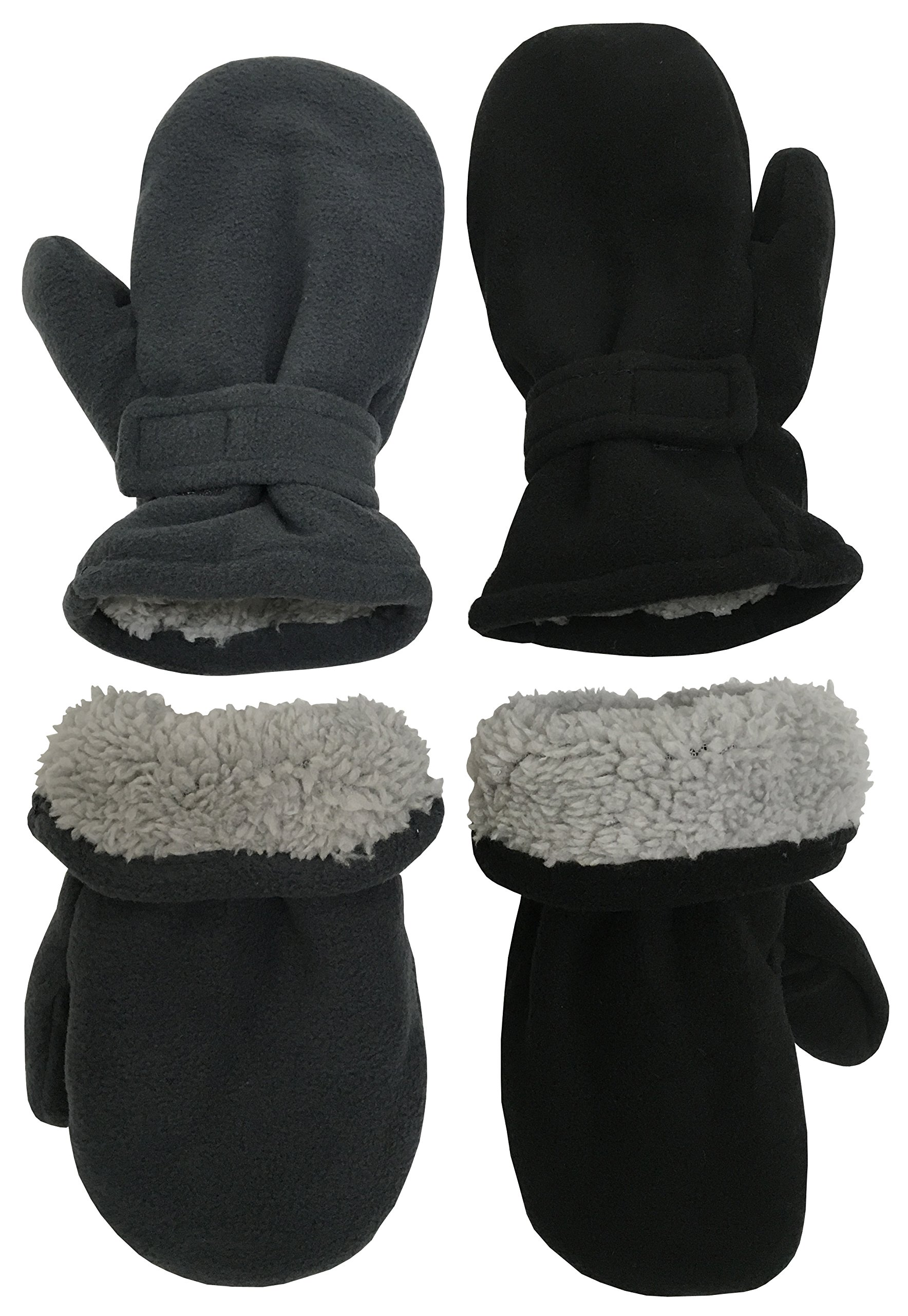 N'Ice Caps Little Kids and Baby Easy-On Sherpa Lined Fleece Mittens - 2 Pair Pack (Black/Charcoal Pack, 2-3 Years)