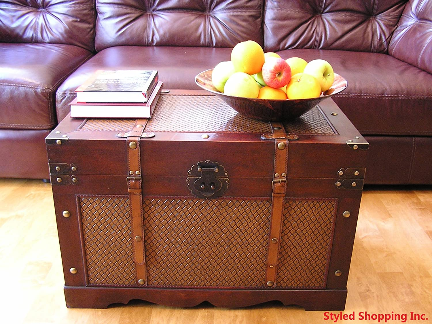Amazon.com Boston Wood Chest Wooden Steamer Trunk - Large Trunk Kitchen u0026 Dining & Amazon.com: Boston Wood Chest Wooden Steamer Trunk - Large Trunk ...