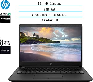 2020 HP 14 inch HD Laptop Newest for Business and Student, AMD Athlon Silver 3050U (Beat i5-7200U), 8GB RAM, 128GB SSD + 500GB HDD, 802.11ac, WiFi, Bluetooth, HDMI, Win10 w/HESVAP 3in1 Accessories