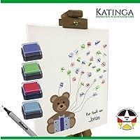 KATINGA Personalisierte Leinwand TAUFE als Gästebuch - Motiv Teddybär (30x40cm) (blau)