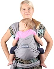 Neotech Care Baby Wrap Carrier - Cotton - Breathable & Adjustable - For Infant, Newborn, Child, Toddler (Grey)