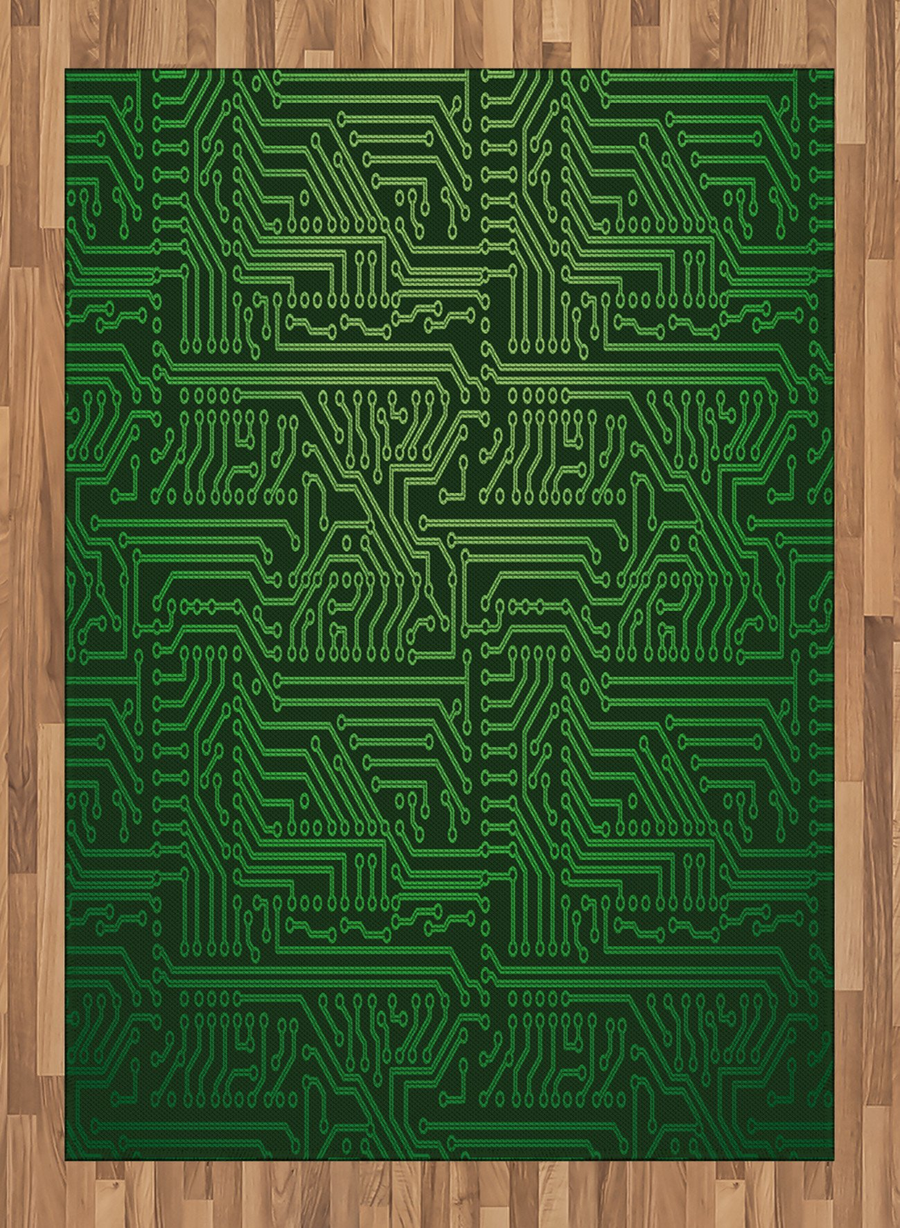 Digital Area Rug by Lunarable, Computer Art Backdrop with Circuit Board Diagram Hardware Wire Illustration, Flat Woven Accent Rug for Living Room Bedroom Dining Room, 5.2 x 7.5 FT, Emerald Fern Green