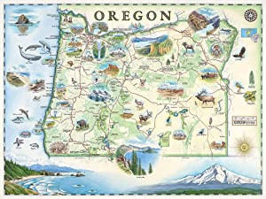 Oregon Map Wall Art Poster - Authentic Hand Drawn Maps in Old World, Antique Style - Art Deco - Lithographic Print
