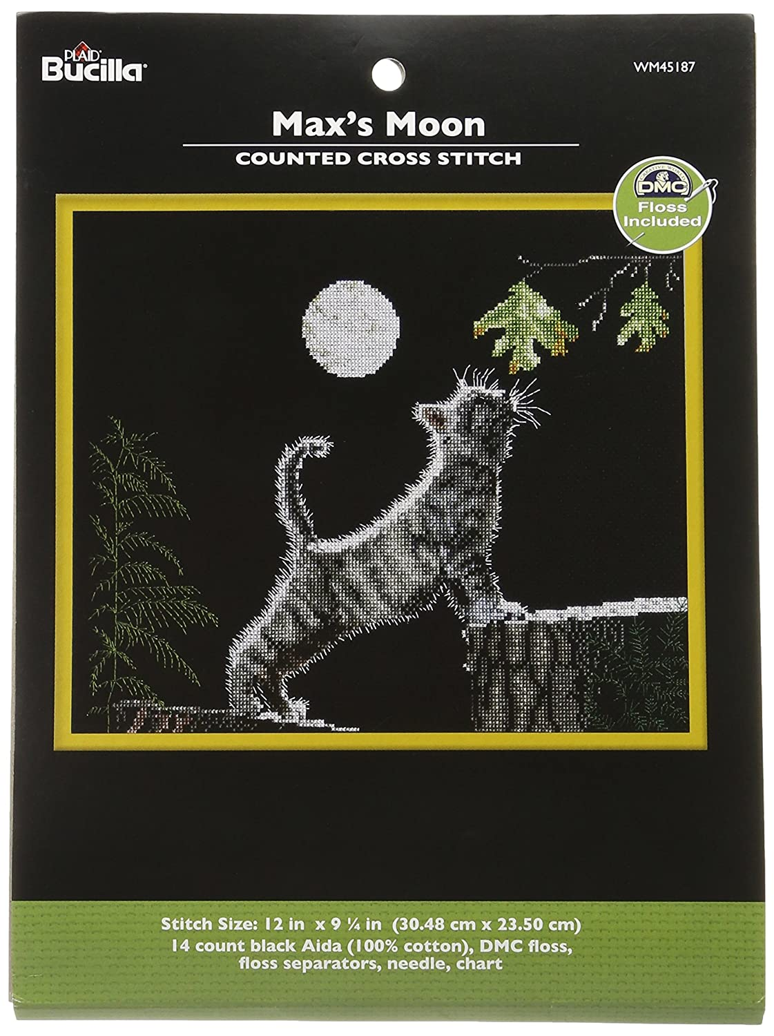 Bucilla Counted Cross Stitch Kit, 12 by 9.25-Inch, 45187 Max's Moon 45187 Max' s Moon Plaid Inc.