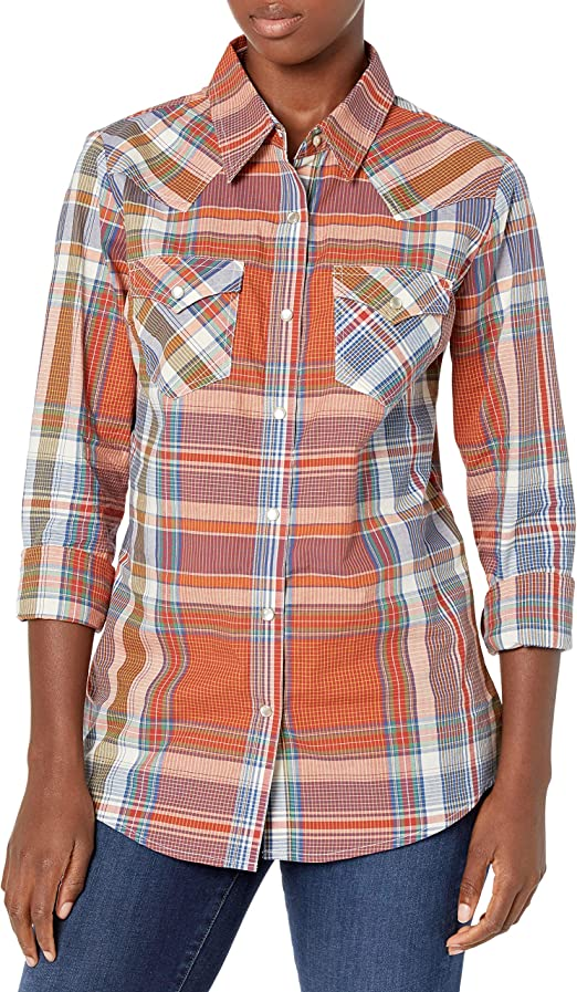 Wrangler Camisa de manga larga para mujer Western Snap ...
