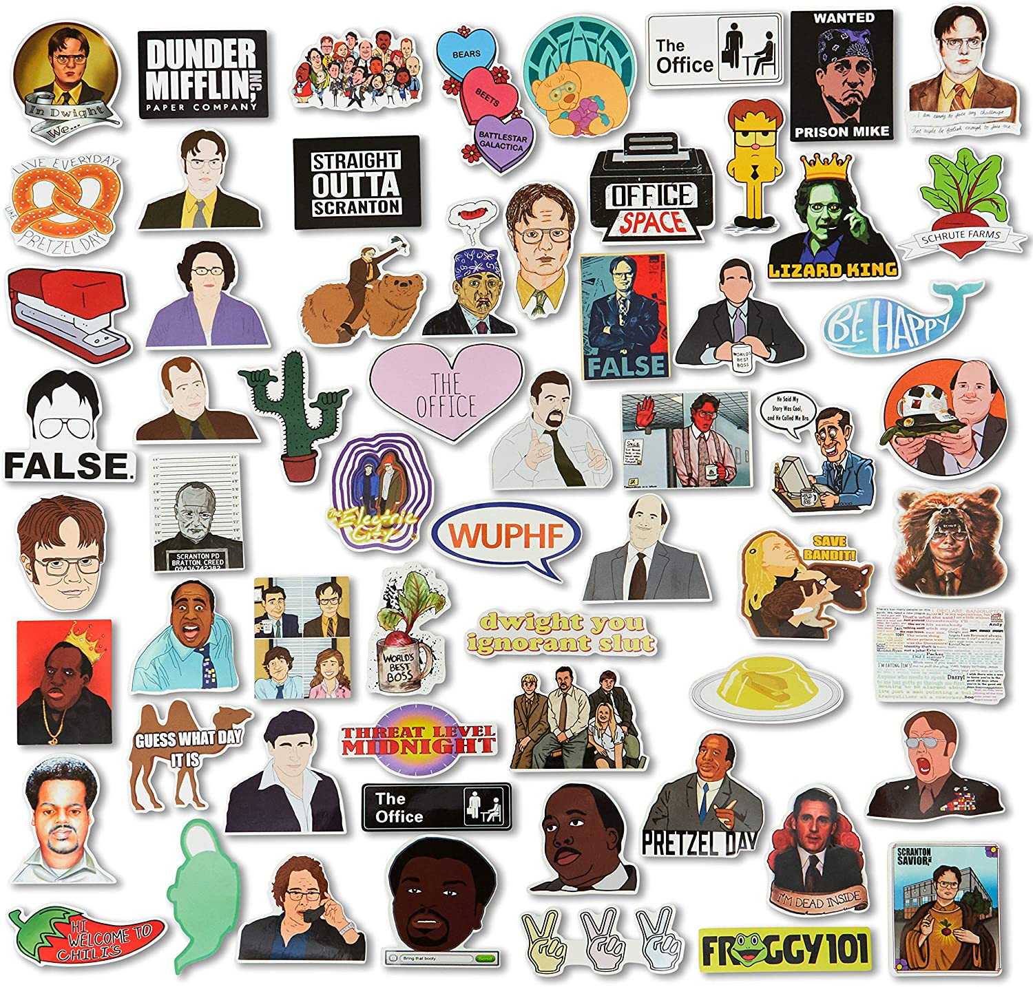 The Office Stickers - Hit TV Show - 124 Stickers (2 of Each) - Vinyl Sticker Pack - Office Memes - Laptop Decoration - Waterbottles/Computer - VSCO Decals - Funny Stickers - The Office Characters