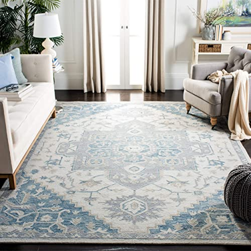 Safavieh MLP503L-8 Micro-Loop Collection MLP503L Ivory and Navy Premium Wool 8' x 10' Area Rug