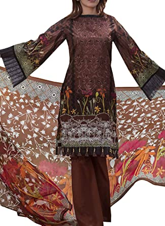 577699e300 Surkhab Impression Women's Original Pakistani Pure Lawn Cotton Embroidered  Unstitched Salwar Suit Dress Material Brown (Free Size): Amazon.in:  Clothing & ...