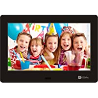 Arzopa Digital Photo Frame 7 inch IPS Screen (1024x600) High Resolution Support MP3 MP4 Pictures and Video Player Clock and Calendar Function with Remote Control (Black 7 inch)