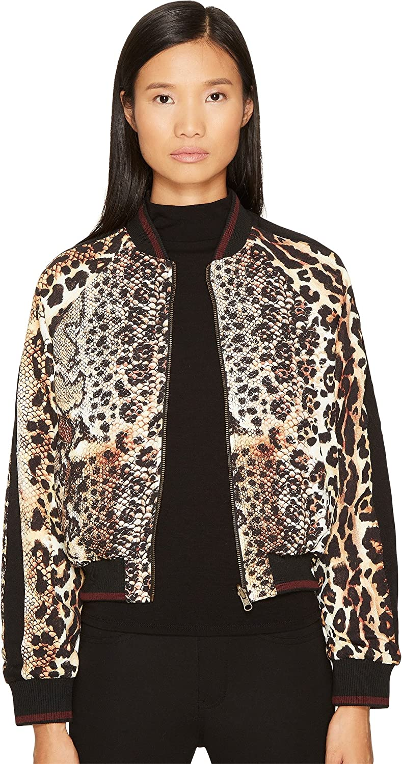 665462064f3 Amazon.com: Just Cavalli Women's Mixed Animal Print Bomber Jacket Natural  Outerwear: Clothing