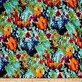 Telio Marni Scuba Knit Abstracti Print Green/Black Fabric By The Yard