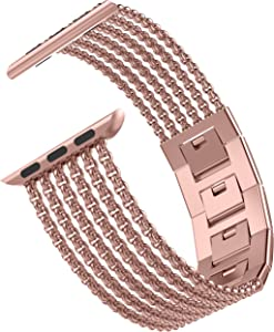 Wearlizer Rose Gold Compatible with Apple Watch Band 38mm 40mm for iWatch Womens Mesh Loop Stainless Steel Replacement Dress Chain Metal Strap Beauty Wristband Sleek Bracelet Series 5 4 3 2 1 Edition