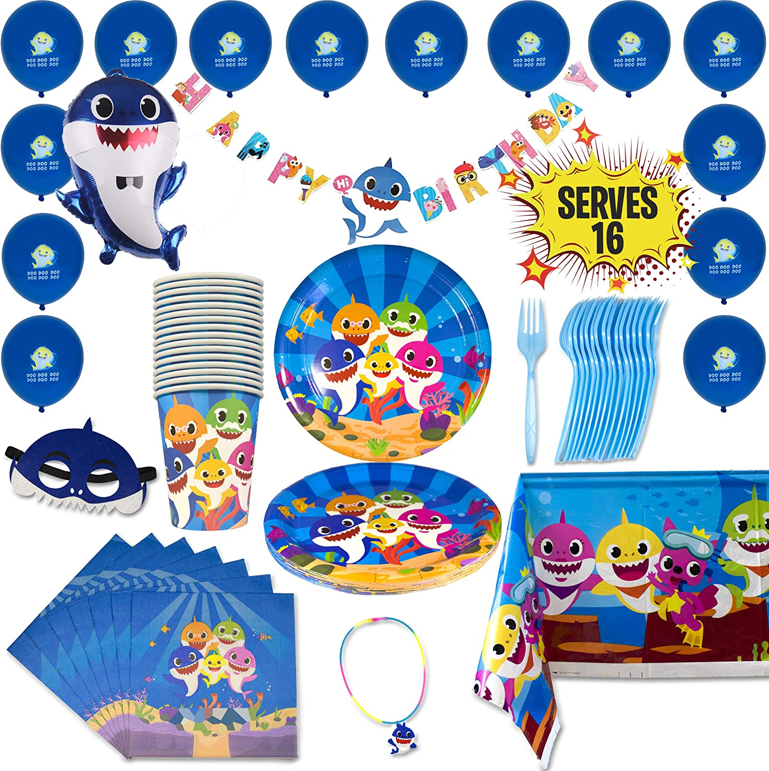 Innohero Shark Party Supplies for Baby 79 Pieces 16 Guests Includes Happy Birthday Banner Balloons Plates Cups Napkins Forks Tablecloth Mask & Necklace