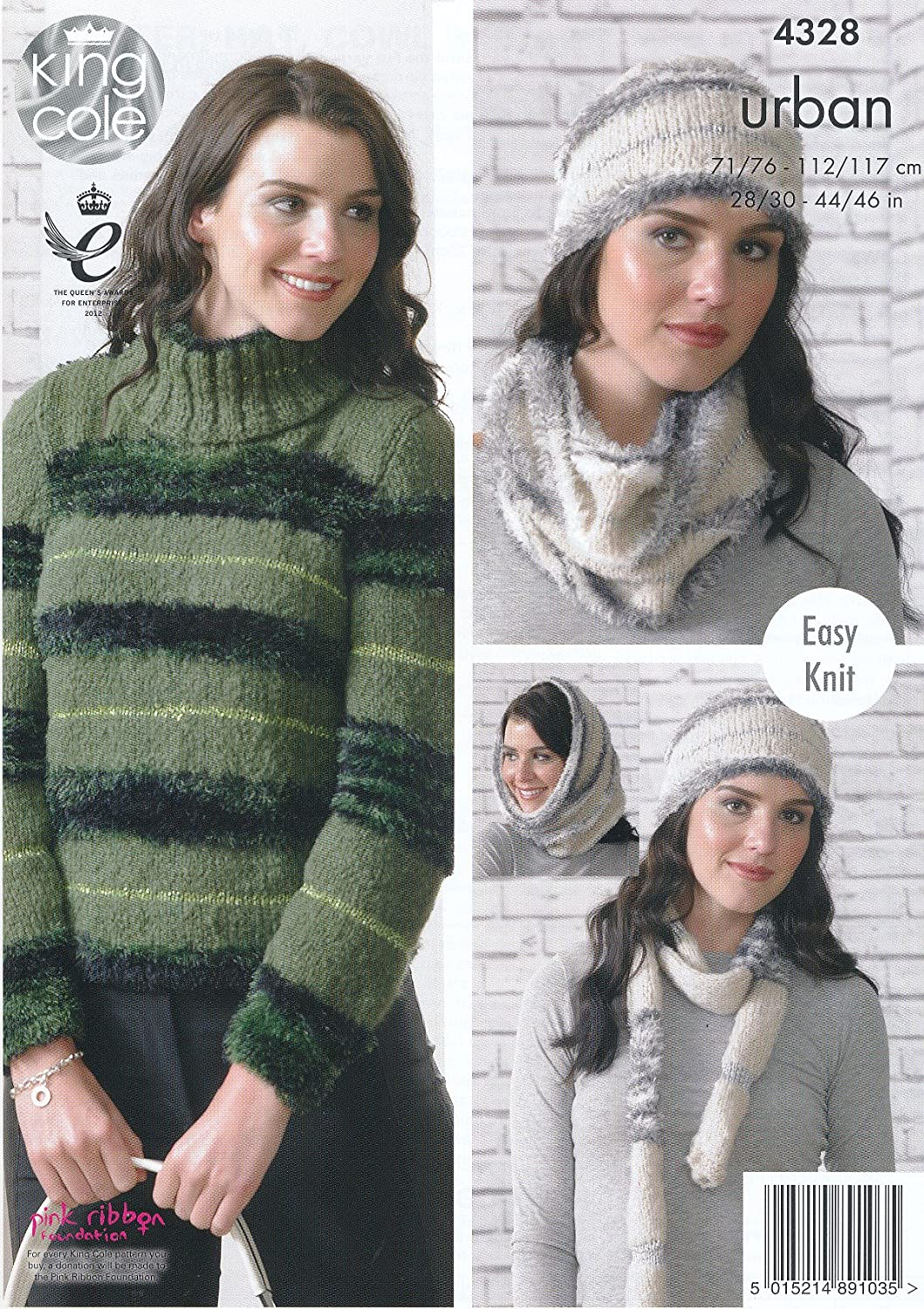 1350b736ef802b King Cole Urban Knitting Pattern Ladies Womens Easy Knit Sweaters Hat Cowl    Scarf (4328)  Amazon.co.uk  Kitchen   Home