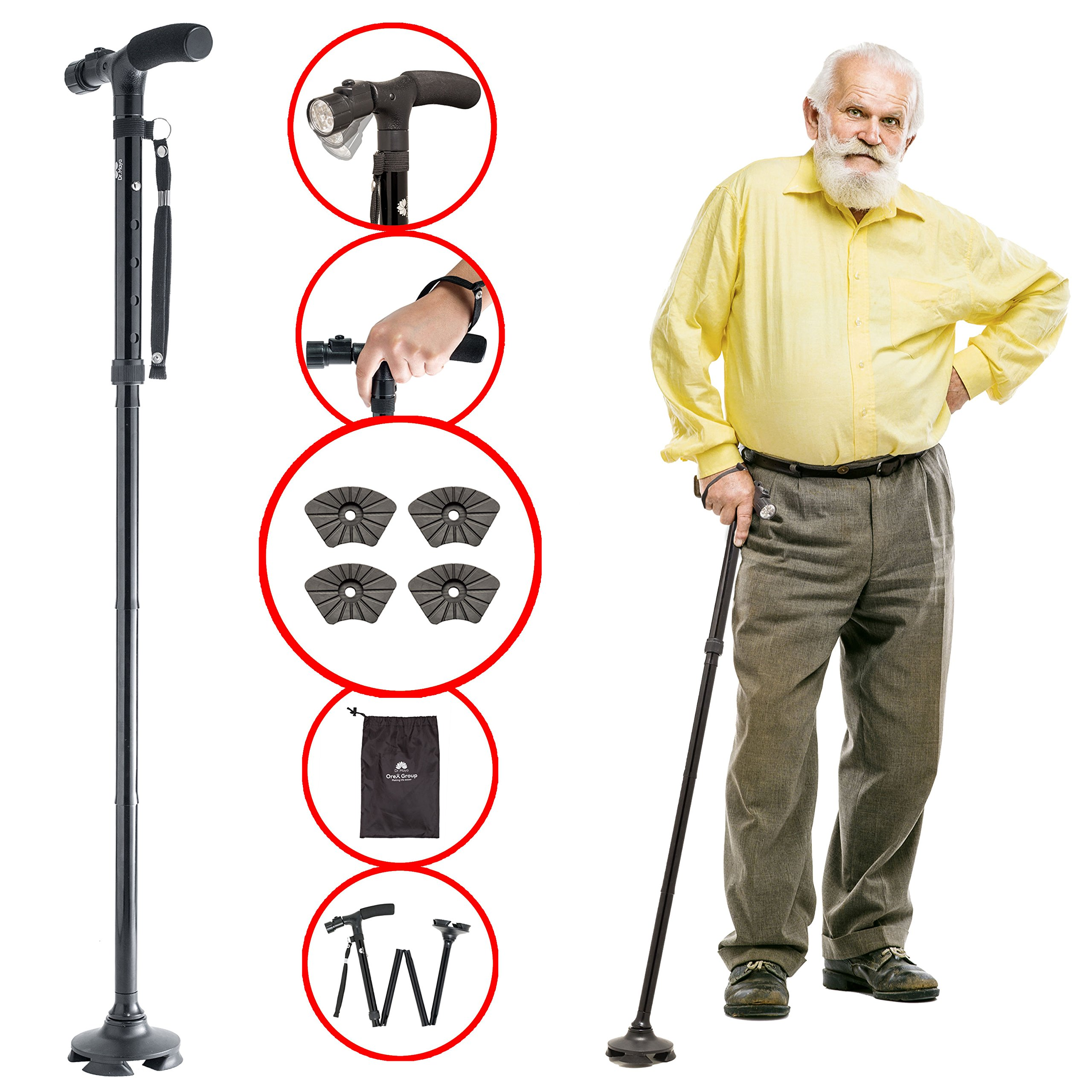 Walking Cane by Dr. Maya with Free Cane Tips & LED Lights - Lightweight, Adjustable, Foldable, Pivoting Base, Quad Travel Balance Stick Support for Elderly Men and Women - Walker Gift for Seniors! by Dr. Maya (Image #1)