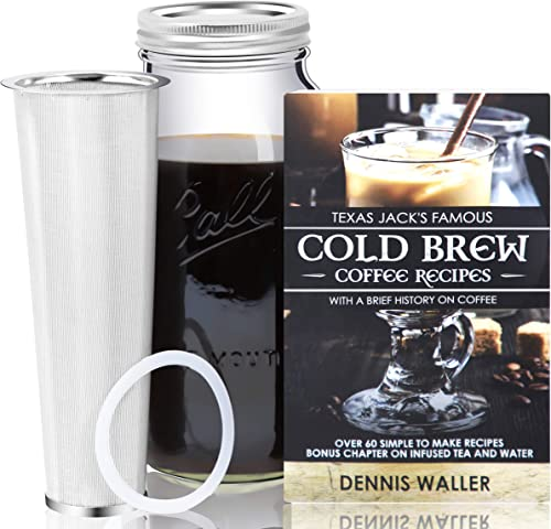 Cold Brew Coffee Maker Kit Large 2 Quart Half Gallon 130pg 60 Recipes and Instruction Book Quality Ball Wide Mouth Mason Jar Stainless Filter Basket. Makes Coffee