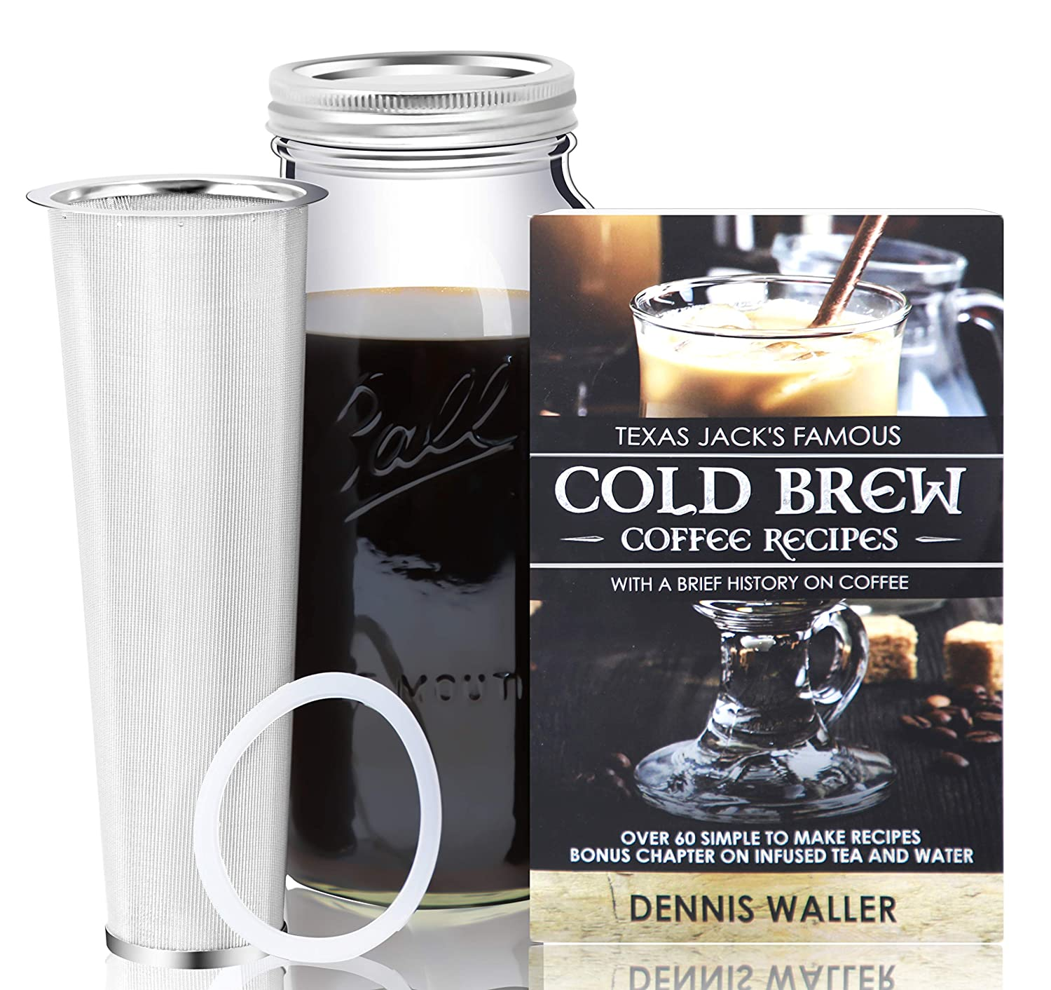 Cold Brew Coffee Maker Kit Large 2 Quart Half Gallon 130pg 60 Recipes and Instruction Book Quality Ball Wide Mouth Mason Jar Stainless Filter Basket. Makes Coffee, Infused Water Tea