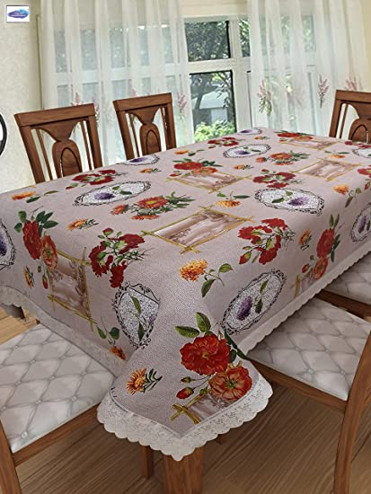 Clasiko 6 Seater PVC Table Cover; Painting Print On Light Base; Anti Slip; 60x90 Inches; 6 Seater