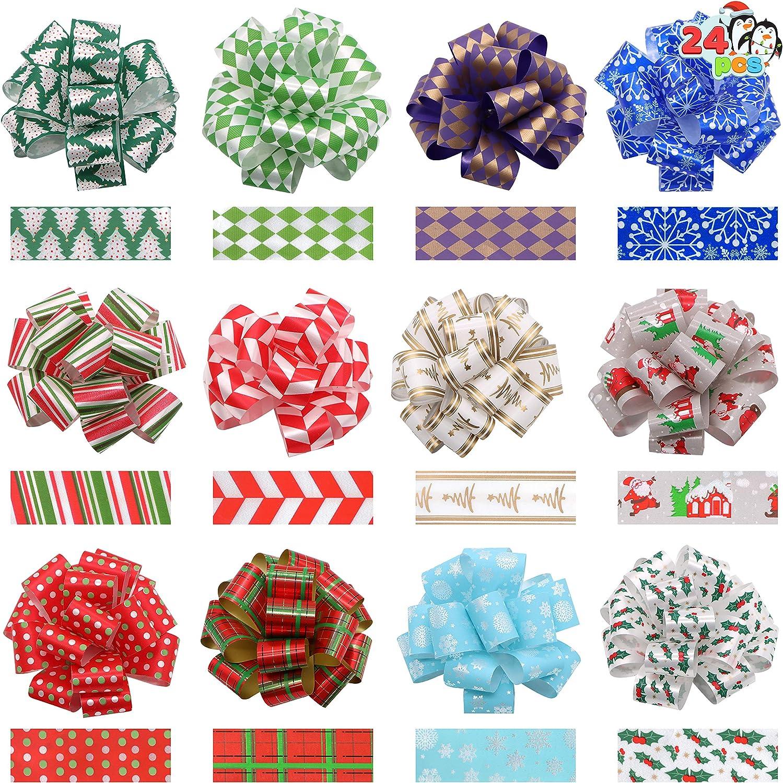 24 Christmas Gift Wrap Ribbon Pull Bows 5