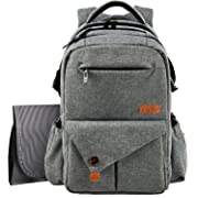 HapTim Multi-Function Large Baby Diaper Bag Backpack W/Stroller Straps-Insulated Pockets-Changing Pad, Stylish & Durable with Anti-Water Material(Gray-5284)
