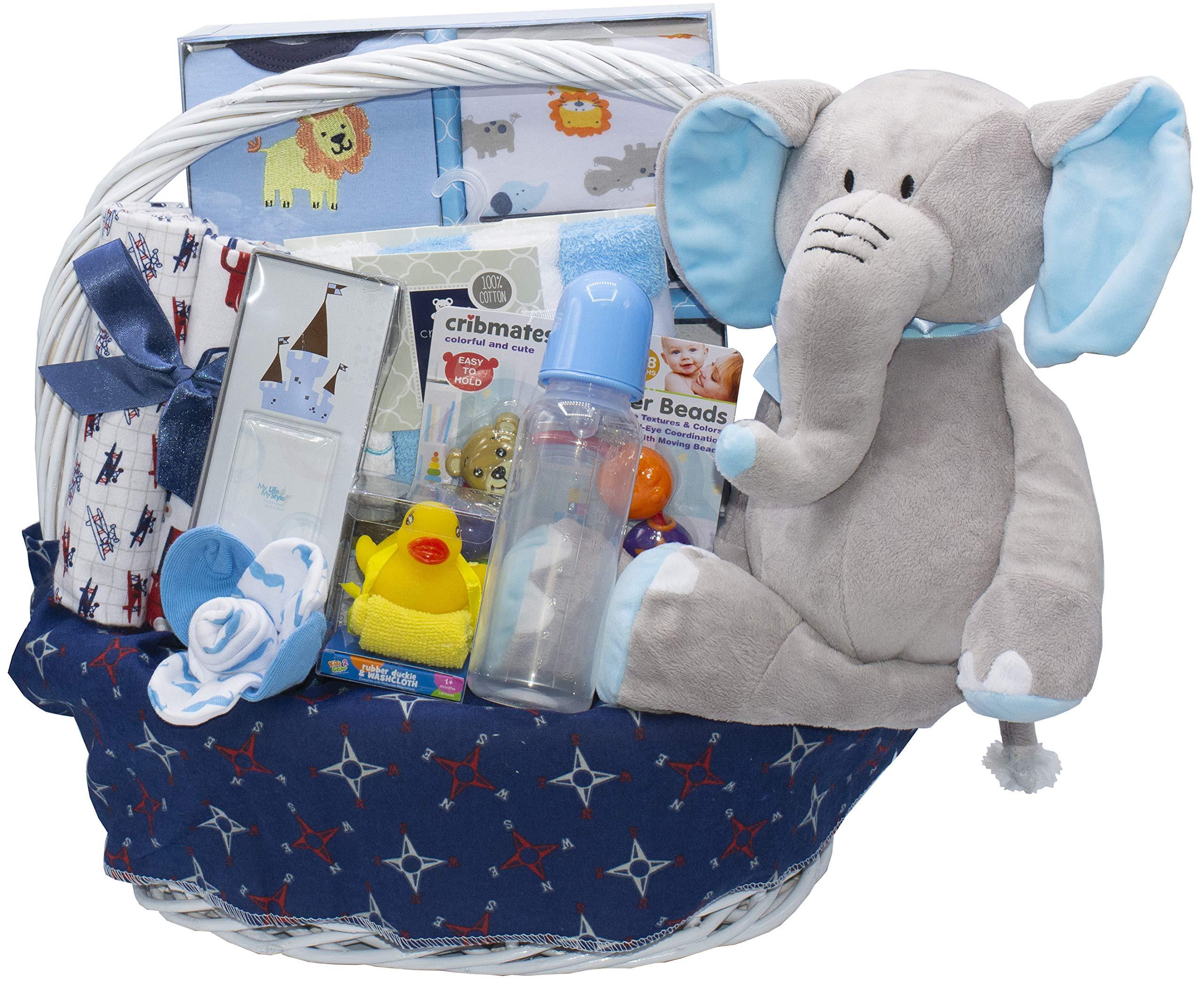Bundle of Joy Deluxe Baby Girl or Boy Gift Basket (Medium) | 21 Piece New Baby Gift Set (Blue)