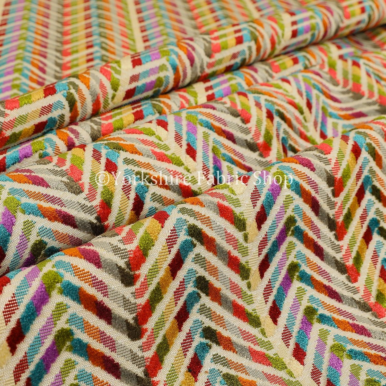 Orange Medallion Inspired Geometric Pattern Chenille Upholstery Woven New Fabric