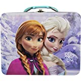 Disney Frozen 3D Design Embossed - Metal Tin Lunchbox (Purple)