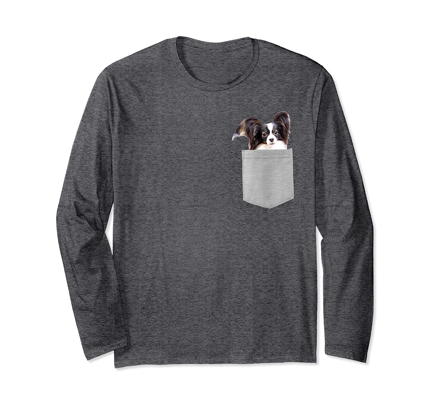 Amazon Papillon Puppy Dog In Your Pocket Long Sleeve Shirt