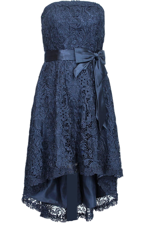 Elegantes Vokuhila Kleid Partykleid 2603 mit Stola und Träger schwarz Gr. 34 - 56