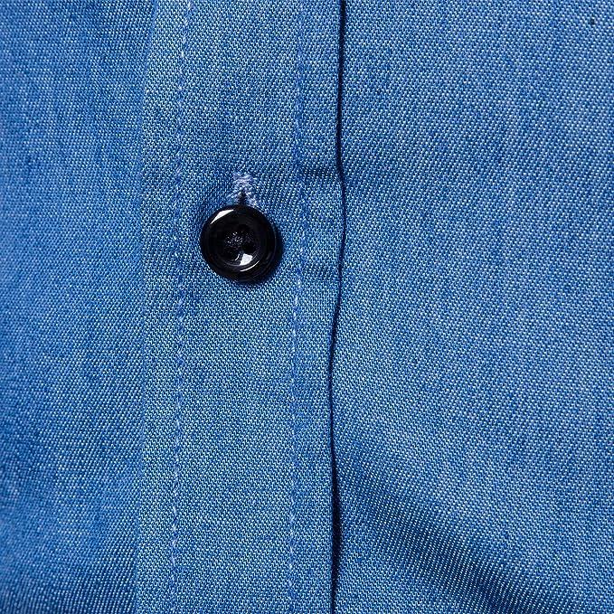 f00ebf2a140 VANCOOG Men s Long Sleeve Denim Work Shirts Pocket Casual Button Dress  Shirts (XX-Large