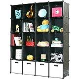 UNICOO Multi Use DIY 20 Cube Organizer, Bookcase, Storage Cabinet, Wardrobe Closet - (Regular Cube, Black)