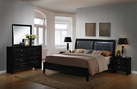 Roundhill Furniture Blemerey 5-Piece Bonded Leather and Wood Bedroom Set,  Includes King Bed, Dresser Mirror with 2 Nightstands, Black Wood Finish