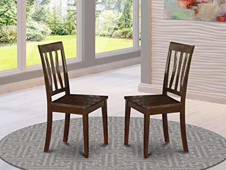 Amazon Com East West Furniture Antique Dining Chairs Wooden Seat And Cappuccino Hardwood Frame Modern Dining Room Chair Set Of 2 Chairs