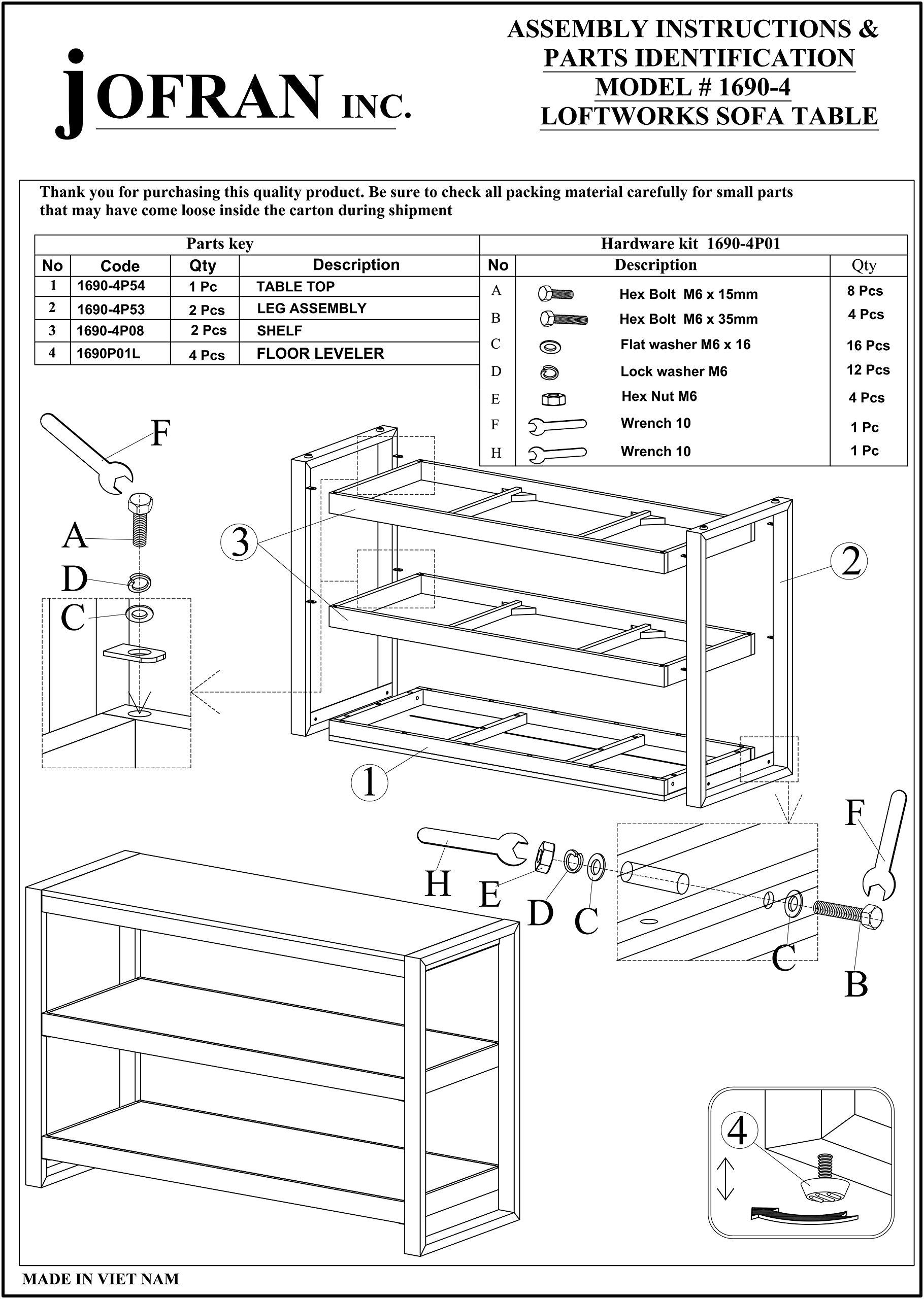 Jofran: 1690-4, Loftworks, Sofa/Media Table, 50''W X 18''D X 32''H, Loftworks Finish, (Set of 1)