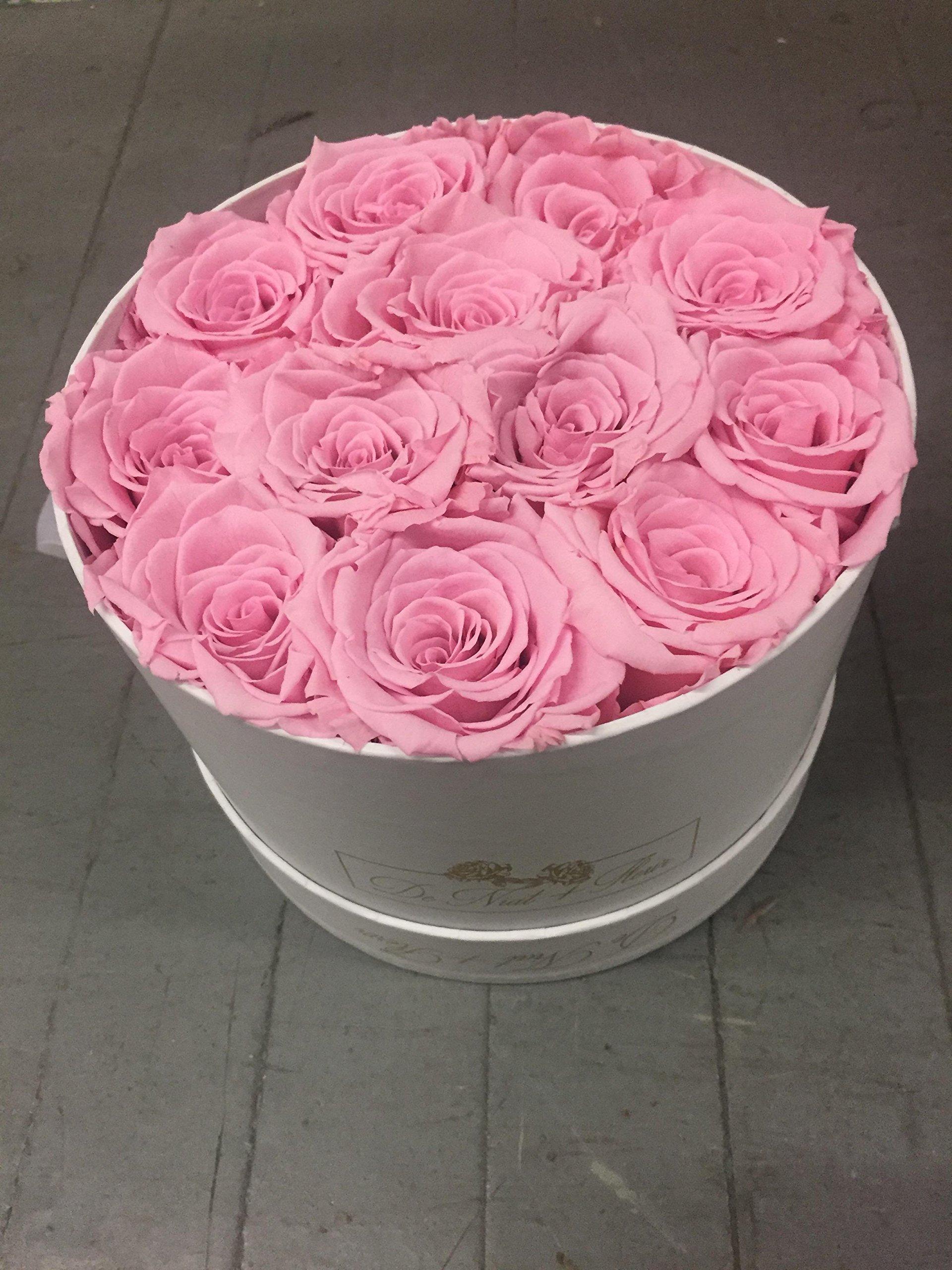 Pink Preserved Roses in Elegant white round box