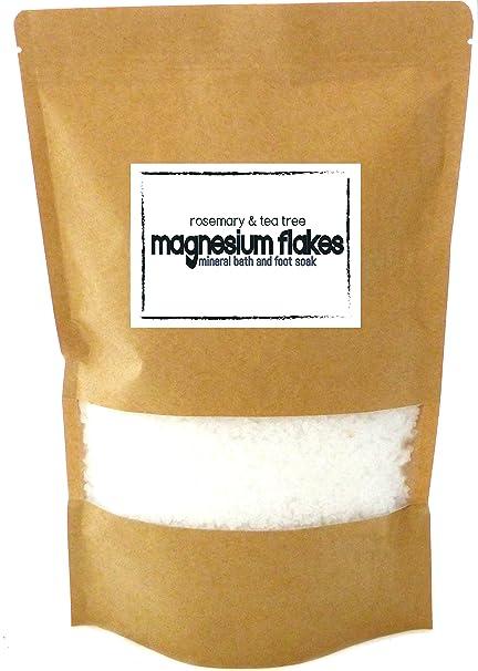 Copos de magnesio con Romero y árbol de té cuerpo baño Soak y pie Soak: