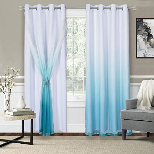 Amazon Com Wontex Mix Match Blackout And Sheer Ombre Curtains For Living Room Bedroom White Teal 52 X 104 Inch Long Thermal Insulated Sun Light Blocking Grommet Curtain Panels Set Of 2 Furniture
