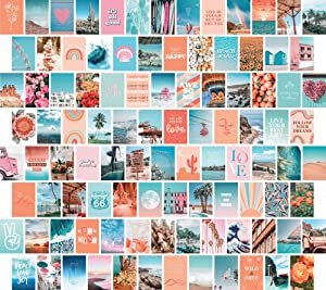 Artivo Peach Blue Aesthetic Wall Collage Kit, Wall Decor for Bedroom Aesthetic,100 Set 4x6 inch, Cute Room Decor for Girls, Teen Wall Decor, Photo Collection
