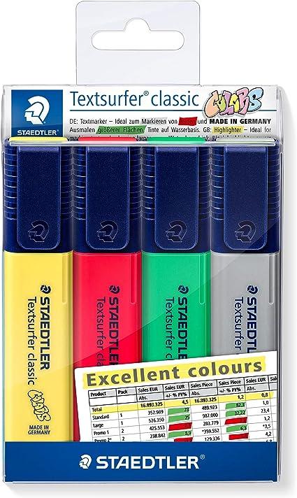 STAEDTLER 364 CWP4-XST Rotuladores Fluorescentes Textsurfer, Estuche con 4 Marcadores de Colores Excellent: Amazon.es: Oficina y papelería