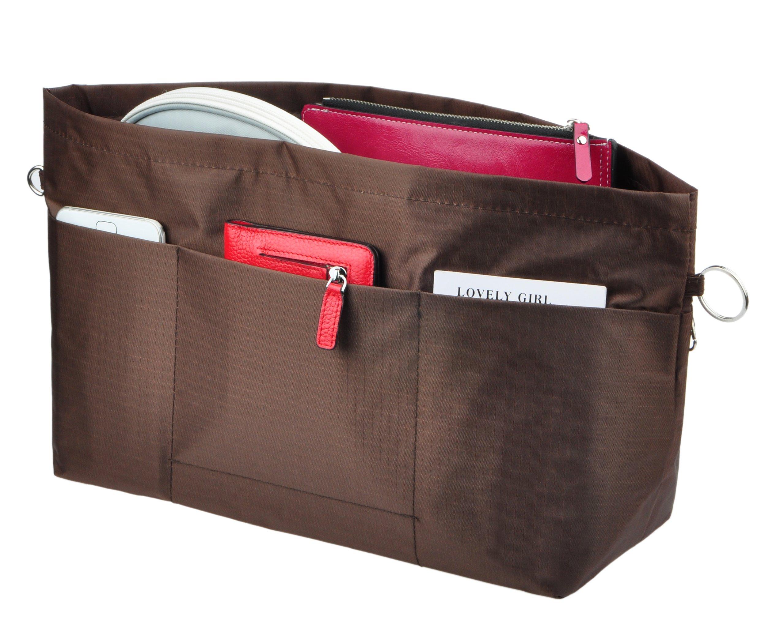 Vercord Handbag Purse Tote Pocketbook Organizer Insert Zipper Clousure 11 Pockets, Coffee M
