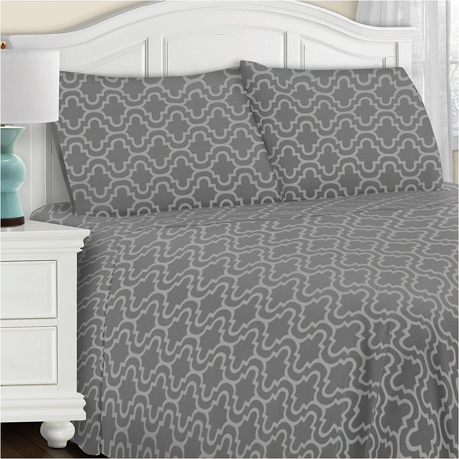 Amazon Com Superior Cotton Flannel Bed Sheet Set Cotton Bed Sheets Deep Pocket Sheets Extra Soft Grey Trellis Full Size Home Kitchen