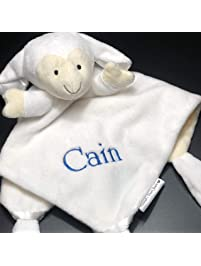 Baby Snuggle Buddy Security Lovey Lovie Cuddle Blankie Blanket - Personalized (White Lamb with Embroidered Name)
